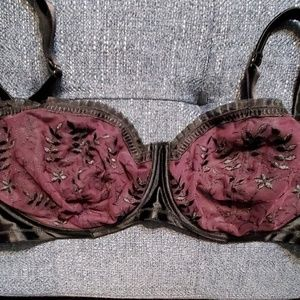 Cacique 38DD Purple Black Sexy Unlined Bra